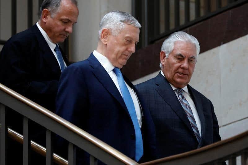 El secretario de Estado de EEUU, Rex Tillerson, y el secretario de Defensa, James Mattis