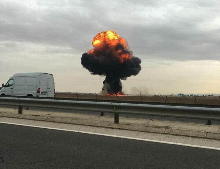F18 estrellado en Torrejón y en el que ha fallecido el piloto.