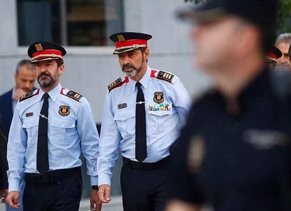 Josep Lluis Trapero, jefe de los Mossos, a su llegada a la Audiencia.