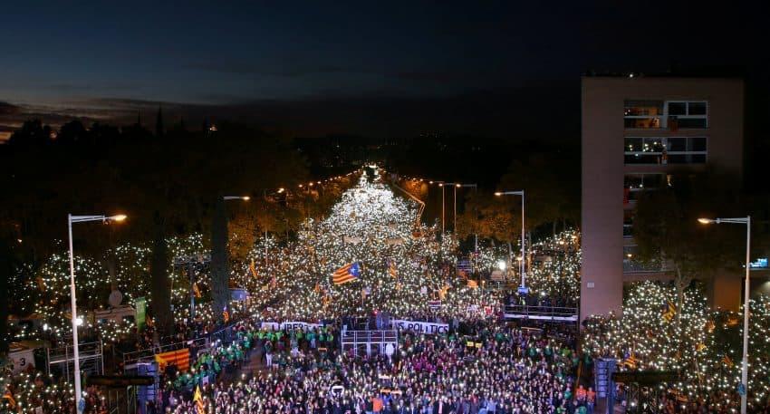 Manifestación en Barcelona para pedir la libertad de los políticos presos