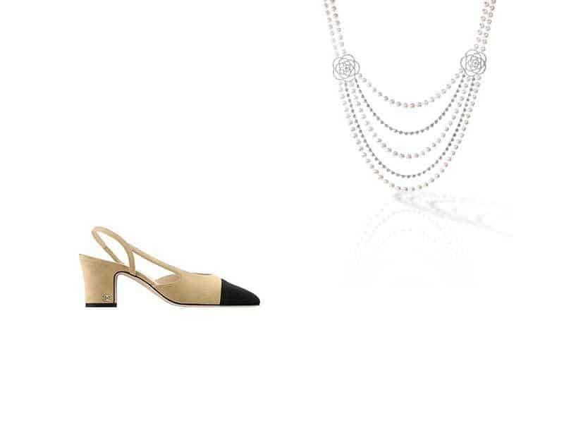 Zapatos bicolor y collar de perlas de varias vueltas Chanel
