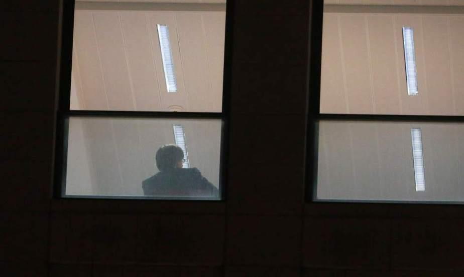 Carles Puigdemont durante su interrogatorio en Bruselas