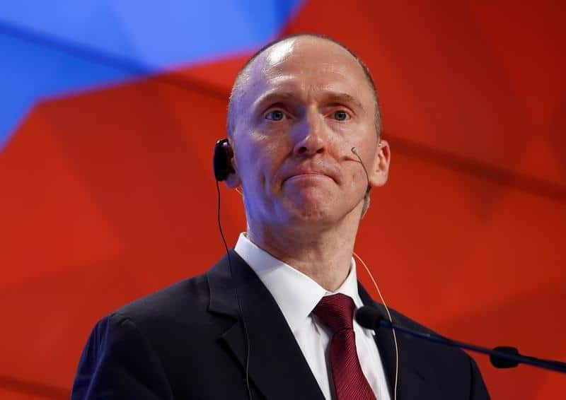 FILE PHOTO: One-time advisor of U.S. president-elect Donald Trump Carter Page addresses the audience during a presentation in Moscow, Russia, December 12, 2016. REUTERS/Sergei Karpukhin/File Photo