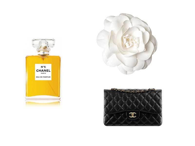 Perfume Chanel N5, camelia y bolso 2,55