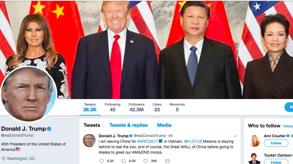 """Trump mostró su """"twiplomacia"""" durante su estancia en China"""