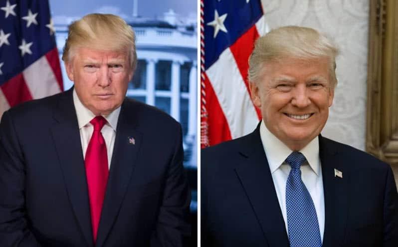 Las fotos oficiales de Donald Trump. Izq: al comenzar su mandato, Der: octubre 2017