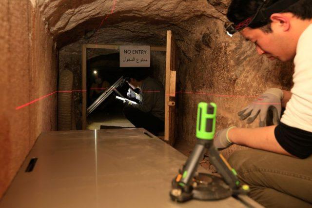 La película de emulsiones Muon está instalada en la Cámara de la Reina de Khufu. Foto: ScanPyramids Mission