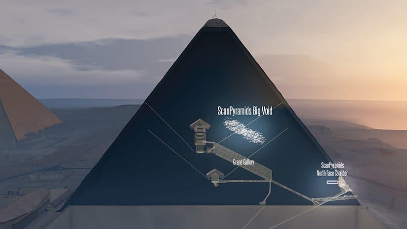 El gran vacío ha sido detectado en Keops gracias al escaneo por radiación cósmica. SCANPYRAMIDS MISSION