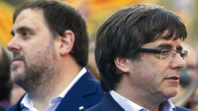 Carles Puigdemony y Oriol Junqueras, líderes separatistas de Cataluña