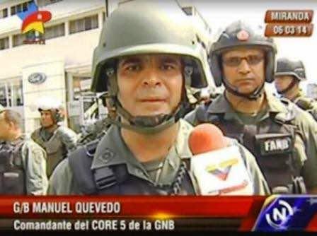 Manuel Quevedo, un mayor general célebre por reprimir las manifestaciones opositoras de 2014