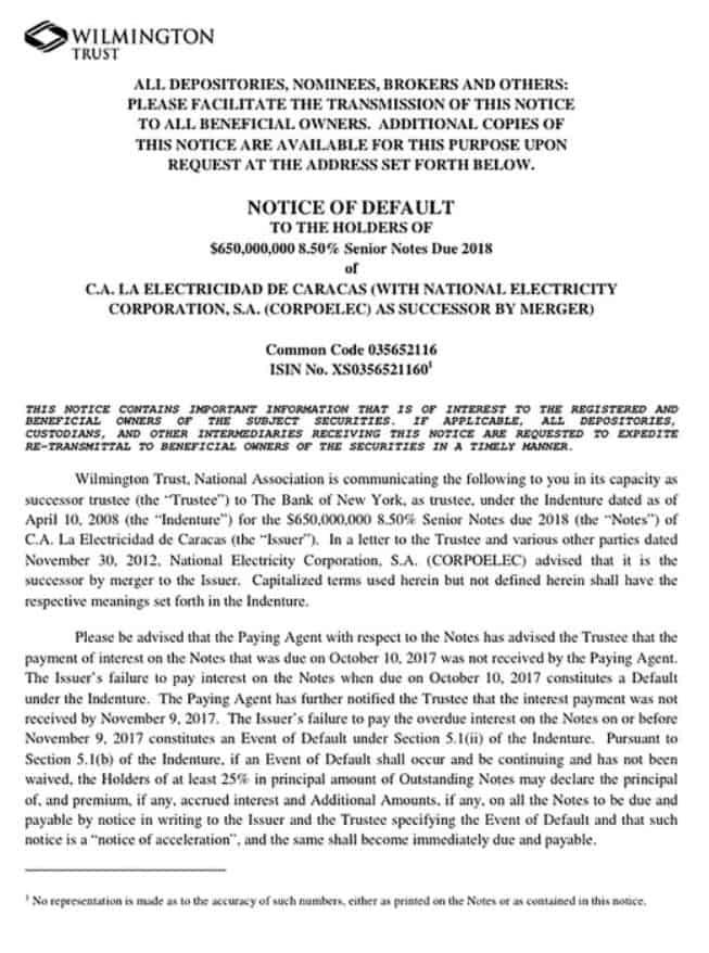 """El régimen de Nicolás Maduro entró en """"default selectivo"""" por el impago de un bono de la empresa eléctrica Corpoelec"""
