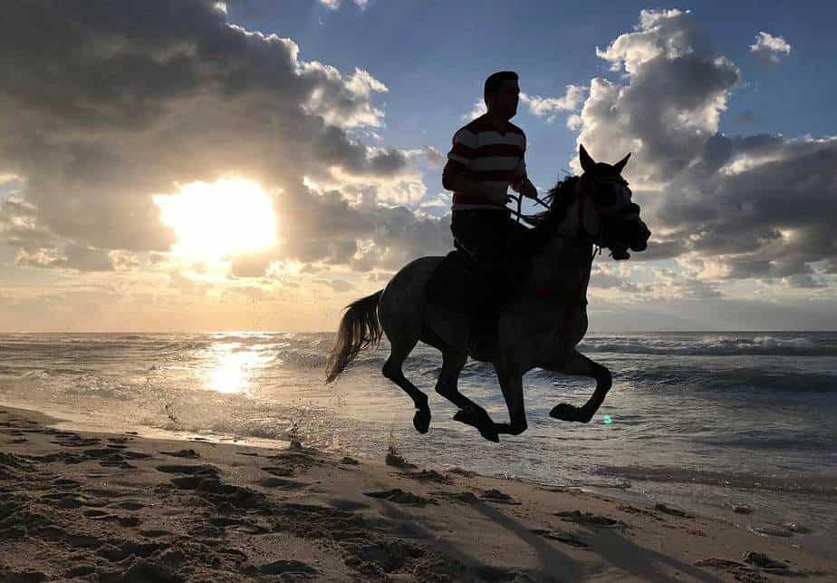 Un palestino monta su caballo en una playa en la ciudad de Gaza el 17 de febrero de 2017. REUTERS / Mohammed Salem