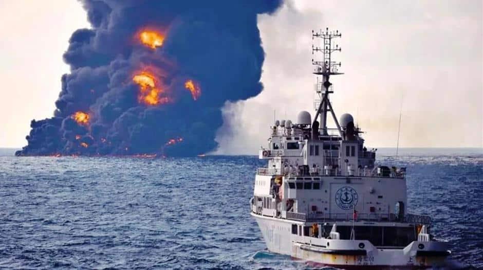 Derrame de petróleo pesado afecta el Mar de China