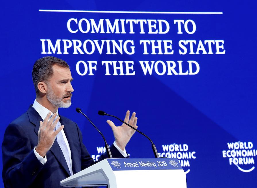 Proyección de España en Davos. Felipe VI defiende la unidad de España en Davos y exige respeto a la Constitución