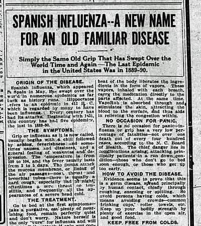 Los periódicos de la época en EEUU se llenaron de reportes sobre la gripe española