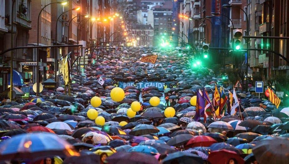Manifestación en Bilbao a favor del acercamiento de los presos de ETA.