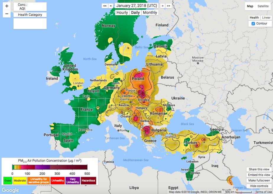 Mapa de calidad del aire en tiempo realde Berkeley Earth
