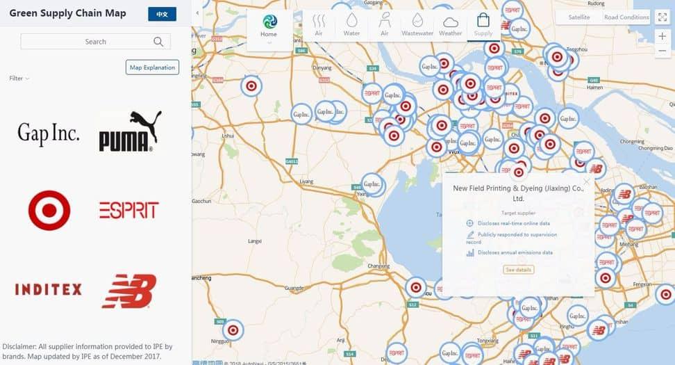 El mapa de contaminación de China monitorea a las grandes textileras