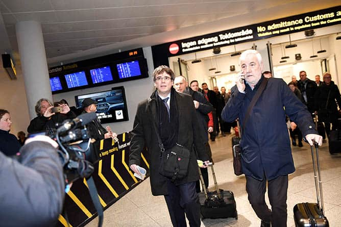 Carles Puigdemont, a su llegada a Copenhague.