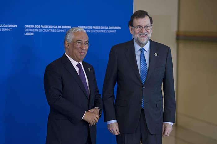 Encuentro entre España y Portugal. Antonio Costa y Mariano Rajoy.