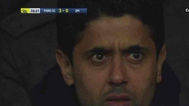 La cara del presidente del PSG en el momento de la lesión de Neymar no pasó desapercibida