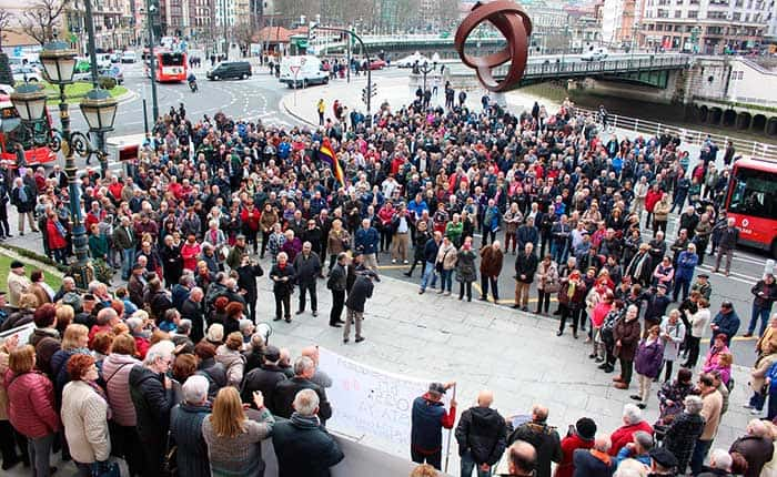Manifestación de pensionistas en Bilbao este sábado 17-M