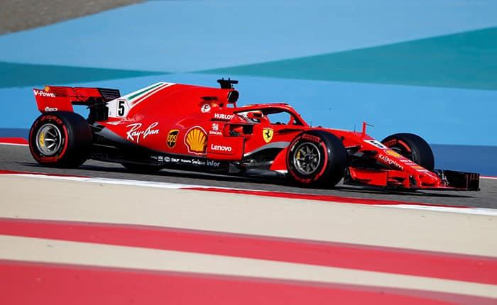 Formula 1 F1 - Bahrain Grand Prix - Bahrain International Circuit, Sakhir, Bahrain - April 7, 2018   Ferrari's Sebastian Vettel in action during practice   REUTERS/Hamad I Mohammed