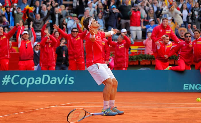 Tennis - Davis Cup - Quarter Final - Spain vs Germany - Plaza de Toros de Valencia, Valencia, Spain - April 8, 2018   Spain's David Ferrer celebrates winning his match against Germany's Philipp Kohlschreiber    REUTERS/Heino Kalis
