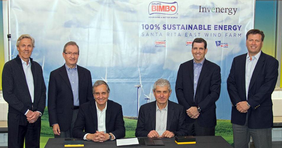 Bimbo compra energía virtual a Invenergy y se perfila 100 por ciento renovable en Estados Unidos