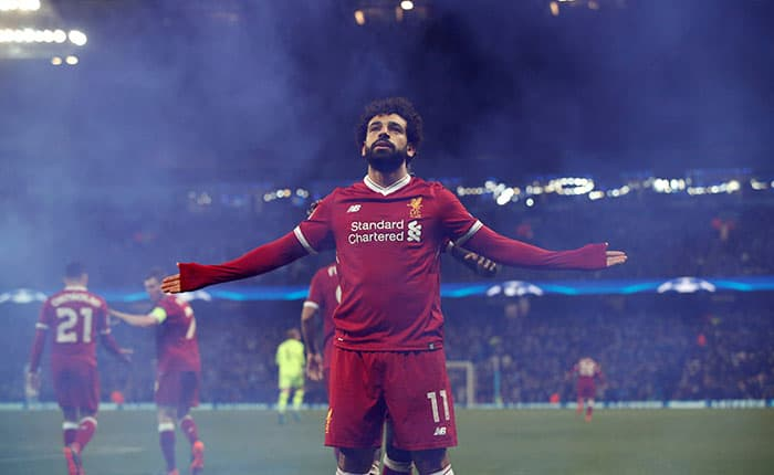 FILE PHOTO: Soccer Football - Mohamed Salah celebrates scoring Liverpool's first goal in their Champions League quarter-final second leg against Manchester City at the Etihad Stadium, Manchester, Britain, April 10, 2018. REUTERS/Andrew Yates/File Photo