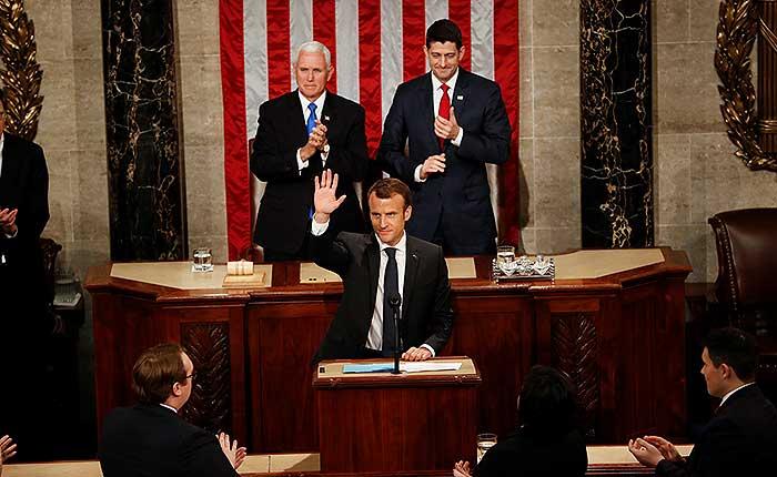 """Macron al Congreso de EEUU: """"La guerra comercial no es la respuesta"""""""