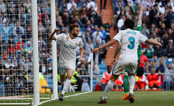 Soccer Football - La Liga Santander - Real Madrid vs Leganes - Santiago Bernabeu, Madrid, Spain - April 28, 2018  Real Madrid's Borja Mayoral celebrates scoring their second goal   REUTERS/Javier Barbancho