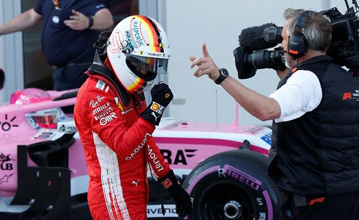Formula One - F1 - Azerbaijan Grand Prix - Baku City Circuit, Baku, Azerbaijan - April 28, 2018   Ferrari's Sebastian Vettel celebrates winning the pole position   REUTERS/David Mdzinarishvili