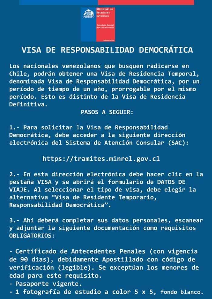 visa de chile para venezolanos