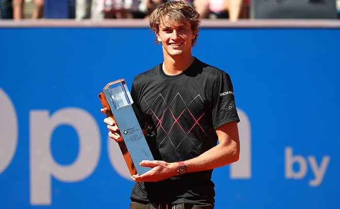 Tennis - ATP World Tour - The BMW Open Final - MTTC Iphitos, Munich, Germany - May 6, 2018   Germany's Alexander Zverev celebrates with the trophy after winning the final against Germany's Philipp Kohlschreiber   REUTERS/Michael Dalder