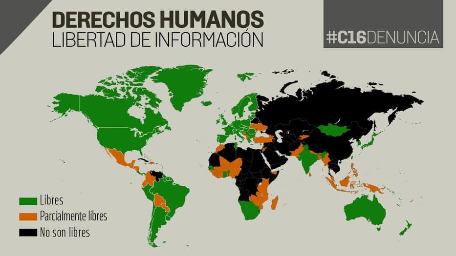 #C16Denuncia: Libertad de información y de expresión en el mundo en 2018