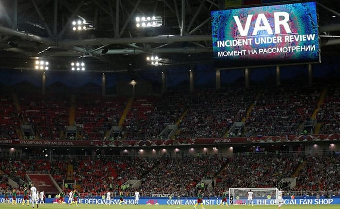 Soccer Football - Cameroon v Chile - FIFA Confederations Cup Russia 2017 - Group B - Spartak Stadium  Moscow  Russia - June 18  2017   A message is displayed on the big screen while Chilea  s Eduardo Vargas  goal is reviewed by the VAR and later disallowed   REUTERS Carl Recine