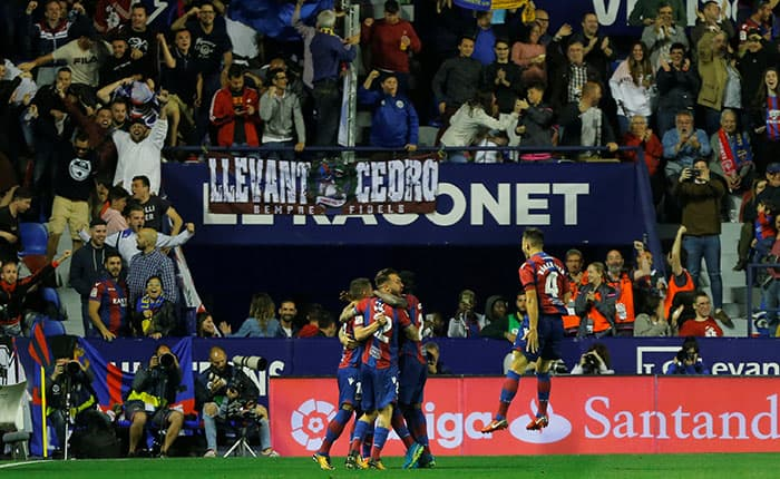 Soccer Football - La Liga Santander - Levante vs FC Barcelona - Ciutat de Valencia, Valencia, Spain - May 13, 2018   Levante's Enis Bardhi celebrates scoring their third goal    REUTERS/Heino Kalis