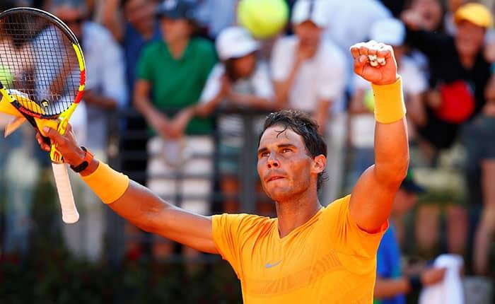 Tennis - ATP World Tour Masters 1000 - Italian Open - Foro Italico, Rome, Italy - May 19, 2018   Spain's Rafael Nadal celebrates winning his semi final match against Serbia's Novak Djokovic   REUTERS/Tony Gentile