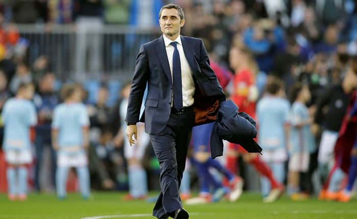 Soccer Football - La Liga Santander - Celta Vigo vs FC Barcelona - Balaidos, Vigo, Spain - April 17, 2018   Barcelona coach Ernesto Valverde     REUTERS/Miguel Vidal