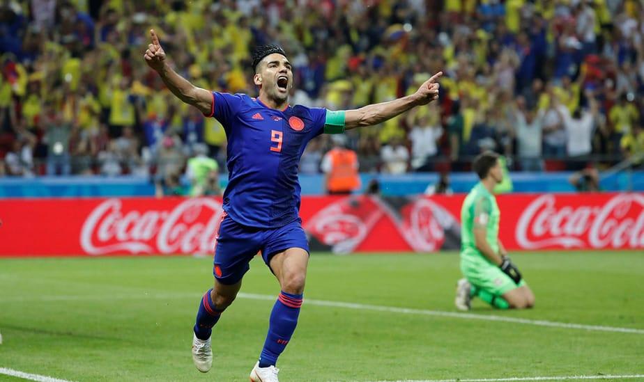 Soccer Football - World Cup - Group H - Poland vs Colombia - Kazan Arena, Kazan, Russia - June 24, 2018   Colombia's Radamel Falcao celebrates scoring their second goal    REUTERS/Toru Hanai