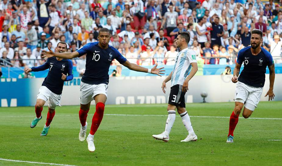 Soccer Football - World Cup - Round of 16 - France vs Argentina - Kazan Arena, Kazan, Russia - June 30, 2018  France's Kylian Mbappe celebrates scoring their fourth goal   REUTERS/Michael Dalder
