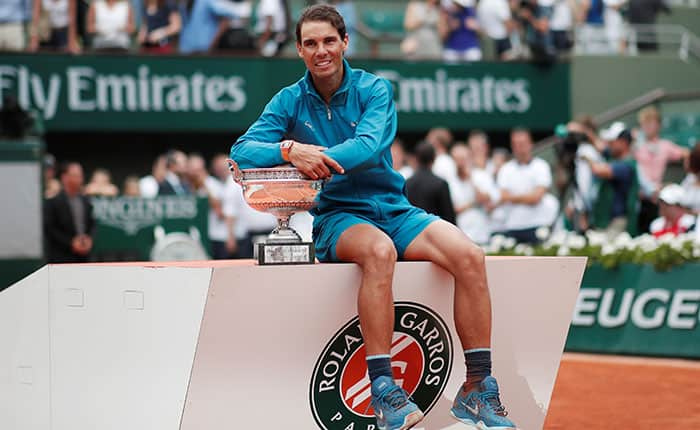 Tennis - French Open - Roland Garros, Paris, France - June 10, 2018   Spain's Rafael Nadal celebrates with the trophy after winning the final against Austria's Dominic Thiem    REUTERS/Benoit Tessier