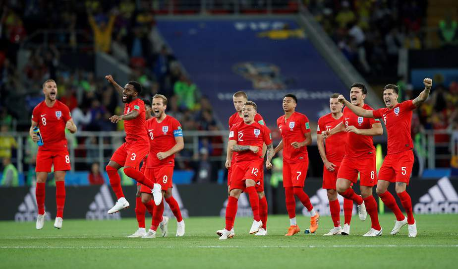 Soccer Football - World Cup - Round of 16 - Colombia vs England - Spartak Stadium, Moscow, Russia - July 3, 2018  England players react during the penalty shootout  REUTERS/Carl Recine