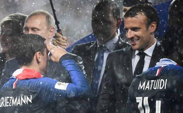 Macron en las celebraciones del Mundial
