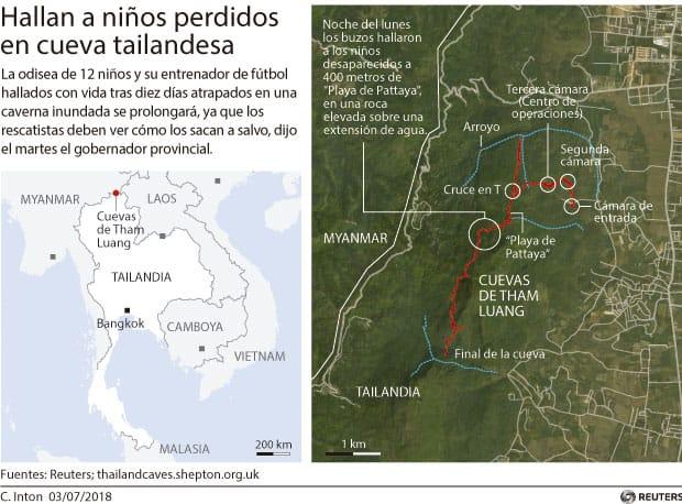 Mapa de los niños atrapados en la cueva en Tailandia