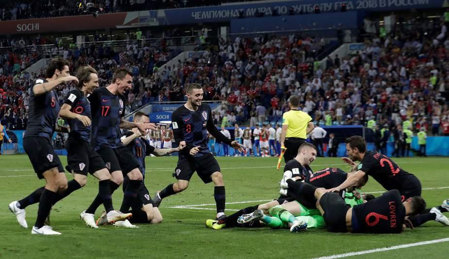 Soccer Football - World Cup - Quarter Final - Russia vs Croatia - Fisht Stadium, Sochi, Russia - July 7, 2018  Croatia players celebrate after winning the penalty shootout  REUTERS/Henry Romero