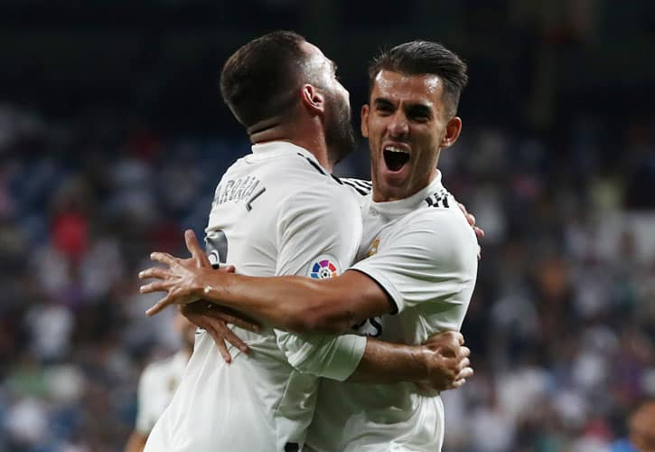 Soccer Football - La Liga Santander - Real Madrid vs Getafe - Santiago Bernabeu, Madrid, Spain - August 19, 2018   Real Madrid's Dani Carvajal celebrates scoring their first goal with Dani Ceballos    REUTERS/Sergio Perez