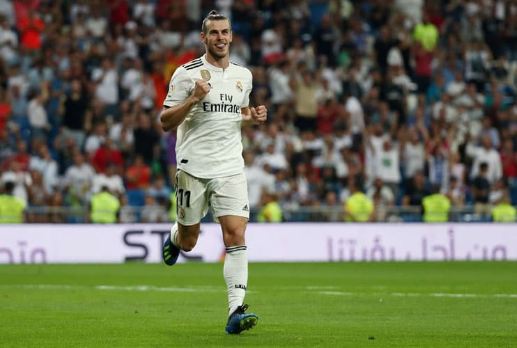 Soccer Football - La Liga Santander - Real Madrid vs Getafe - Santiago Bernabeu, Madrid, Spain - August 19, 2018   Real Madrid's Gareth Bale celebrates scoring their second goal   REUTERS/Sergio Perez