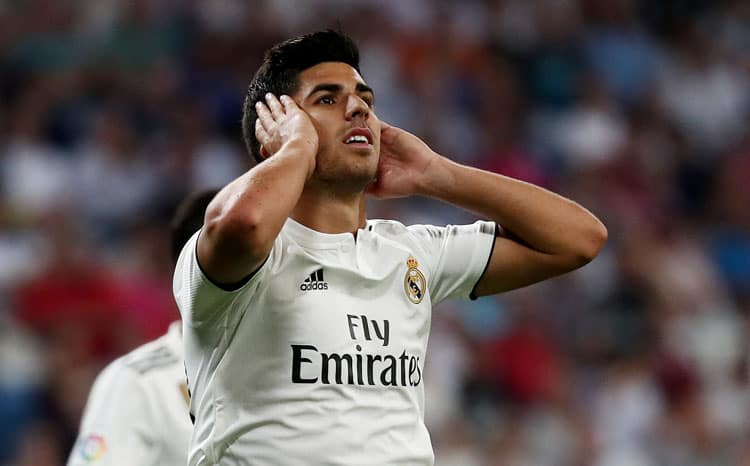 Soccer Football - La Liga Santander - Real Madrid vs Getafe - Santiago Bernabeu, Madrid, Spain - August 19, 2018   Real Madrid's Marco Asensio reacts after a missed chance   REUTERS/Sergio Perez